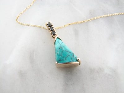 turquoise-black-diamond-yellow-gold-necklace-wexford-jewelers