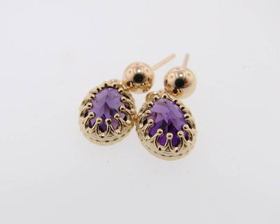 Yellow Gold Amethyst Earrings, Crown