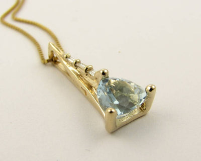 Yellow Gold Aquamarine Diamond Pendant, Prow