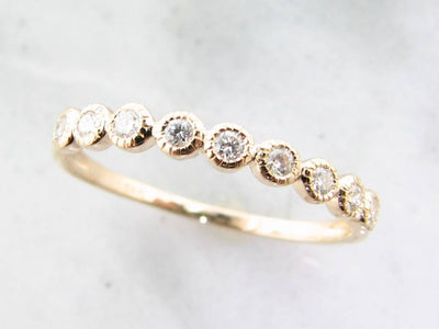 Yellow Gold Diamond Bezel Ring, Moon Phases