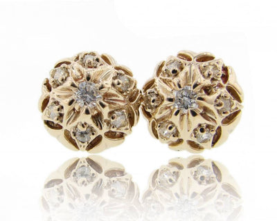 Yellow Gold Diamond Earrings, Bisnonna