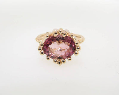Tourmaline Pearl Yellow Gold Ring, Princess