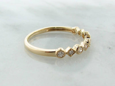 Yellow Gold Diamond Milgrain Stacking Ring, Metric Minimalism