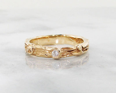 Diamond Yellow Gold Ring, Birch Band