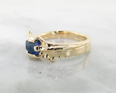 Raw Blue Sapphire Yellow Gold Ring, Rustica