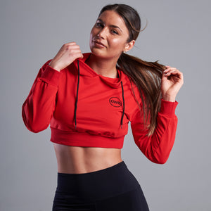 Tilda Cropped Gym Hoodie in Red
