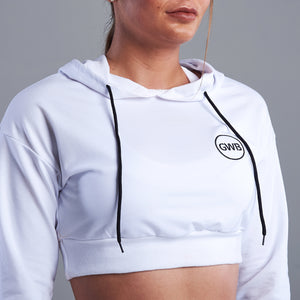 Tilda Cropped Hoodie in White