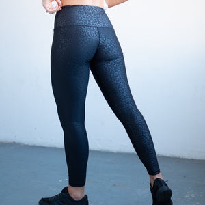 The Artemis Leopard Print Gym Leggings in Black