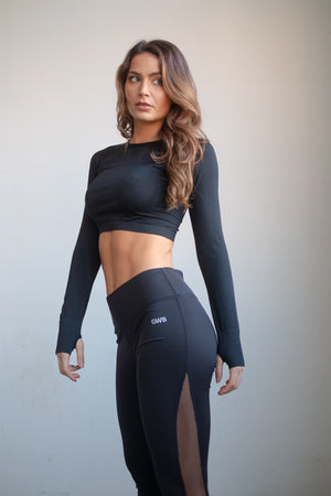 The Mirage Mesh Fishnet Gym Leggings in Black