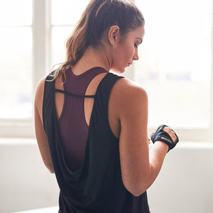Rhya Drape Back Gym Top in Black