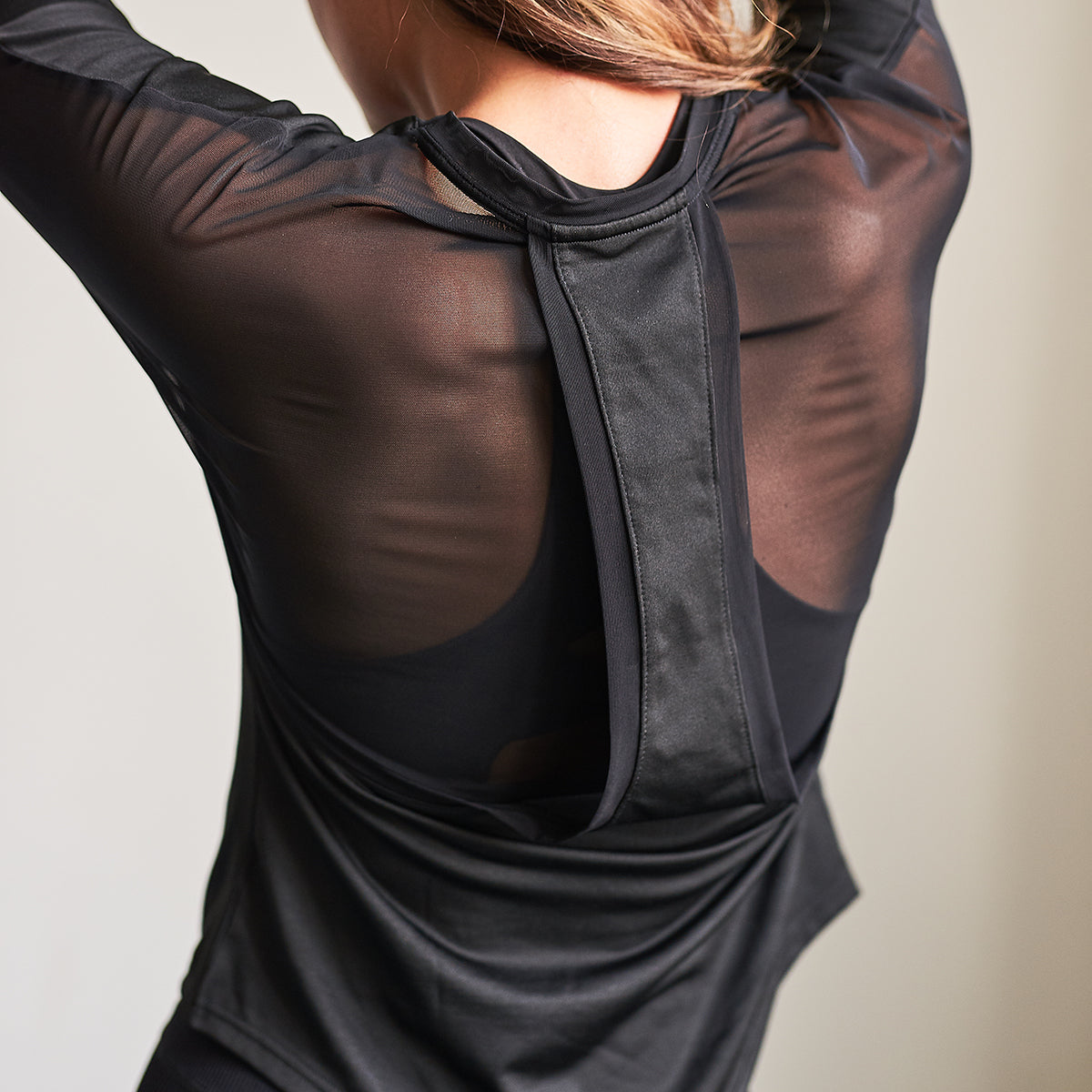 Aurora Long Sleeve Mesh Back Gym Top in Black