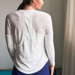Aurora Long Sleeve Gym Top in White