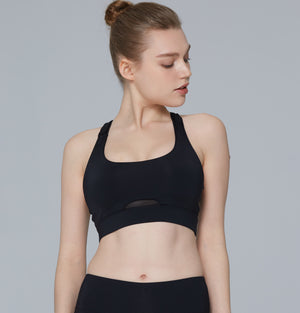 Hera Mesh Back Gym Bra in Black