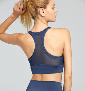 Hera Mesh Backed Gym Bra in Mink Blue