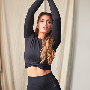 Kalila Long Sleeve Cropped Gym Top in Black