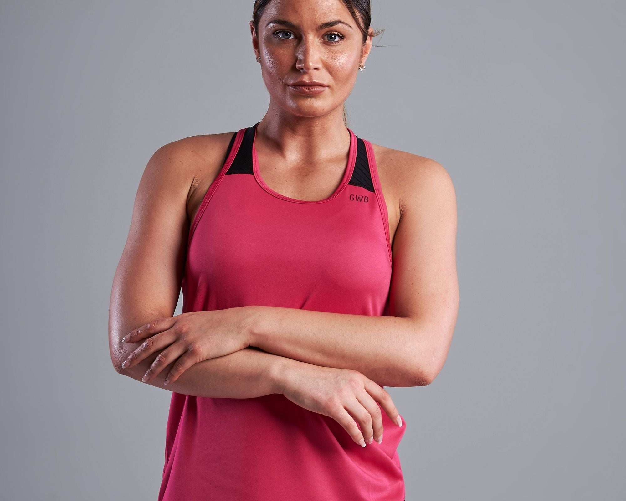 Maia Race Back Vest Top in Bright Pink