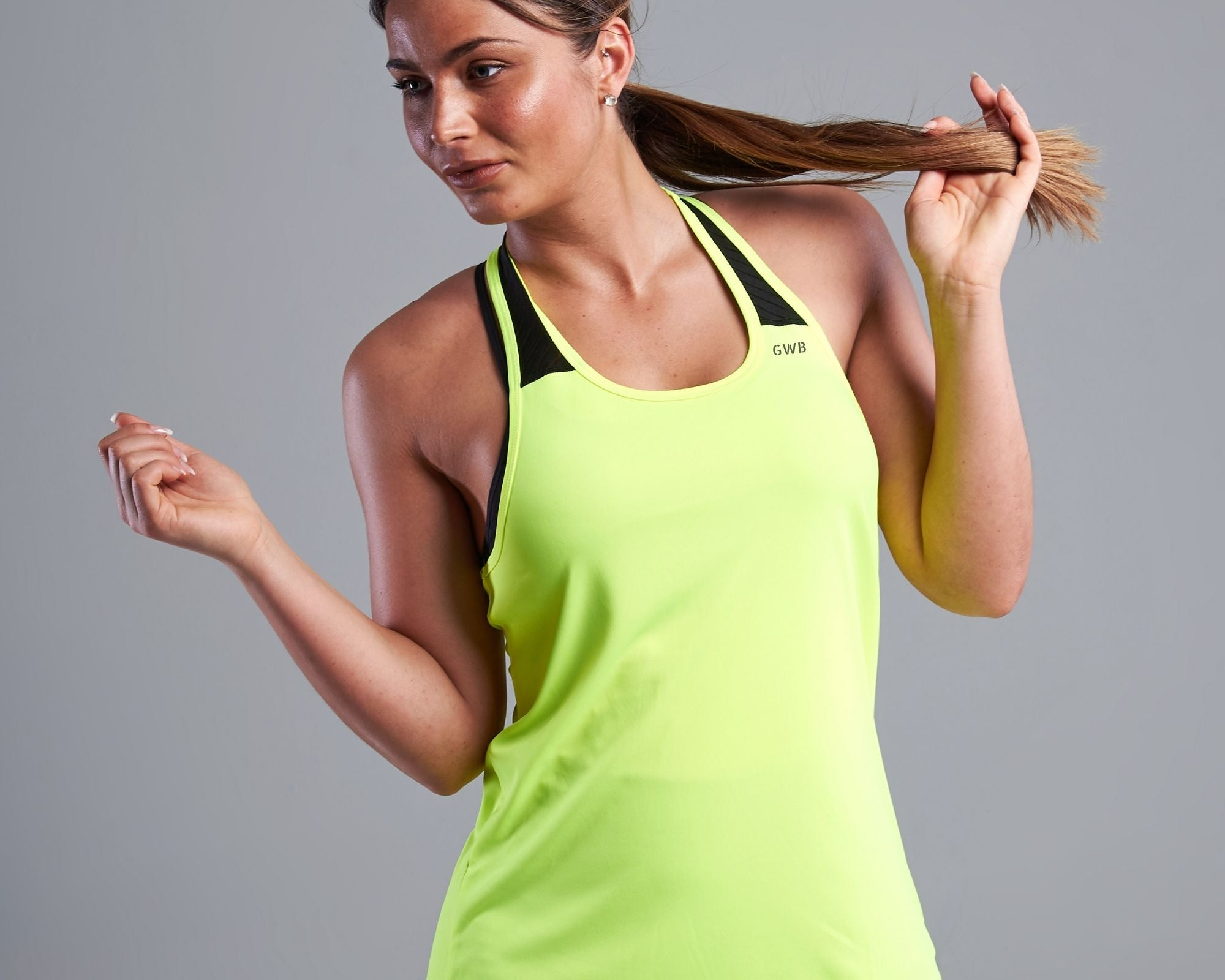 Maia Racer Back Vest Top in Bright Yellow