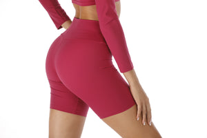 The Elara Bike Shorts in Red