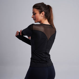 Addison Mesh Long Sleeve Top in Black