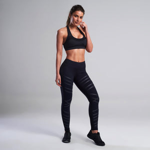 Juno Strip Gym Leggings in Black