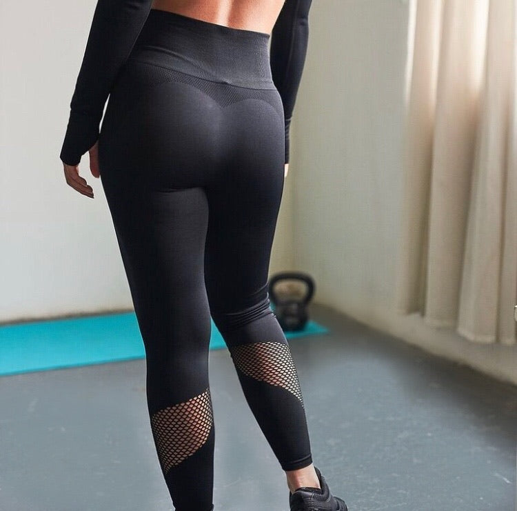 Yara Fishnet Mesh Leggings in Black