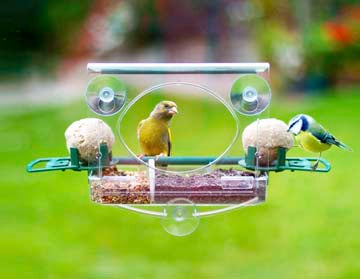 "Meripac ""Complete"" Window  Bird Feeder with FatBall Holders with Perches"