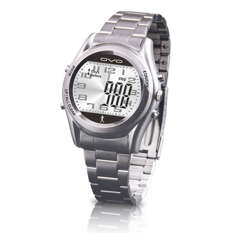OVO Stainless Steel Pedometer Watch