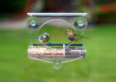 "Meripac ""Classic"" Window Garden Bird Feeder with FREE sample of Premium BirdFood"