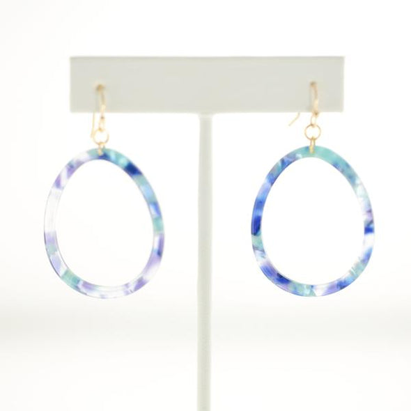 Open Lucite Tie Dye Dangle Earrings