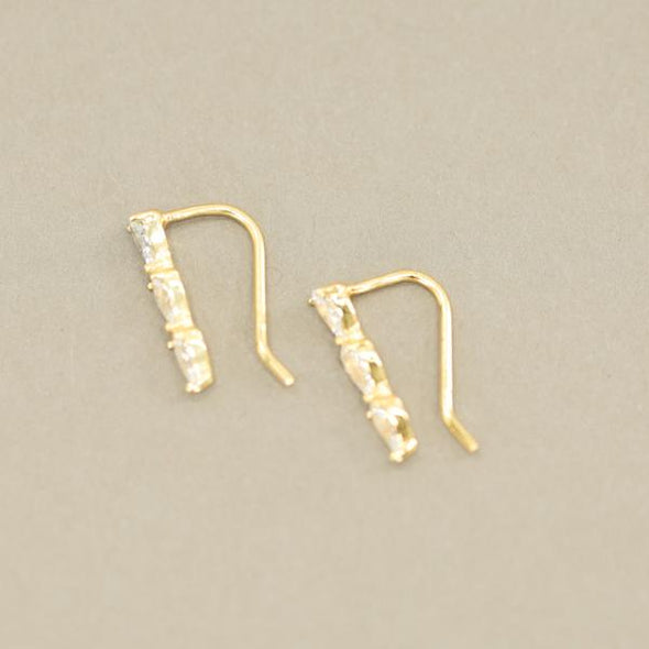 Triple CZ Drop Earrings