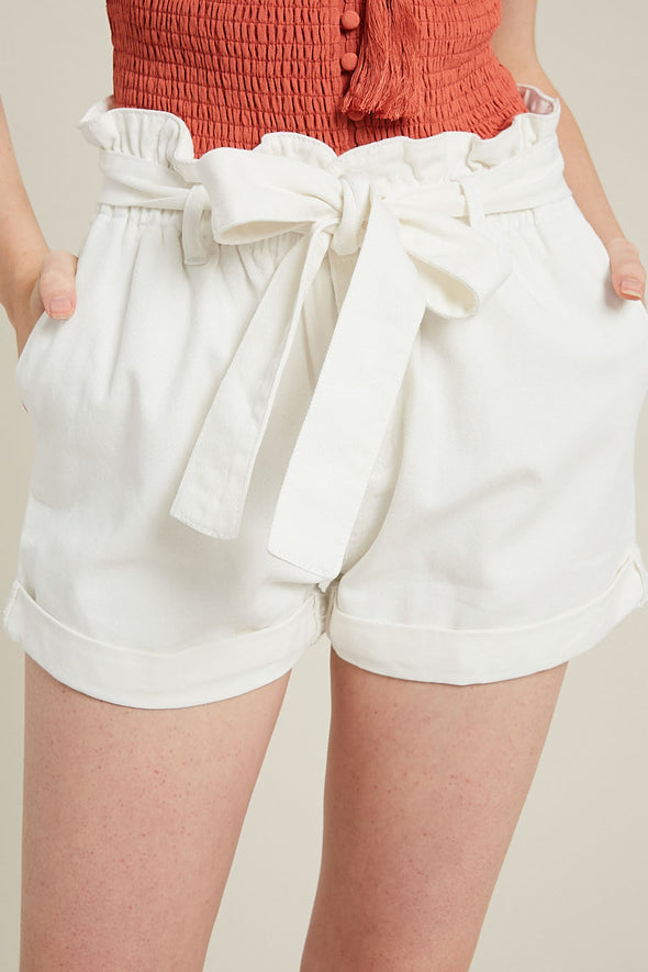 Belted Paperbag Denim Shorts