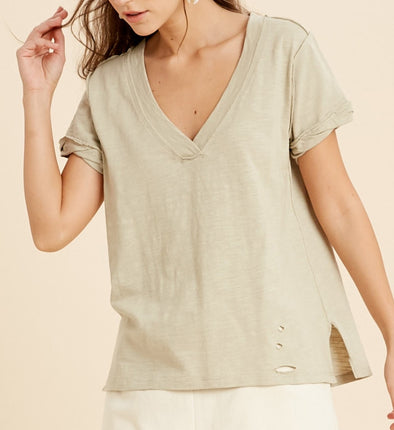 V-Neck Knit Top W/Distressing