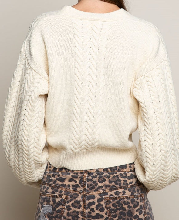 Cropped Button Down Cable Knit Sweater