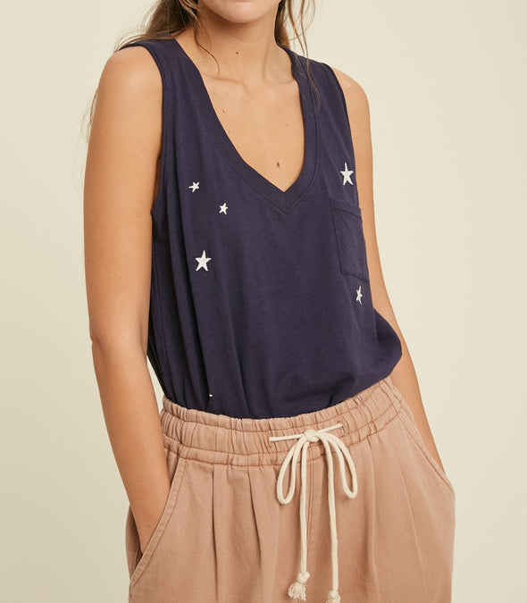 Star Embroidered Sleeveless Tank Top