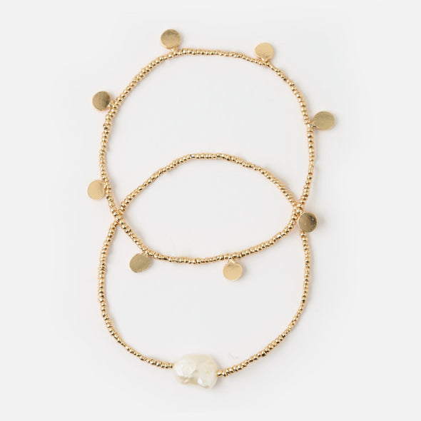 Pearl & Coin Stretch Bracelets