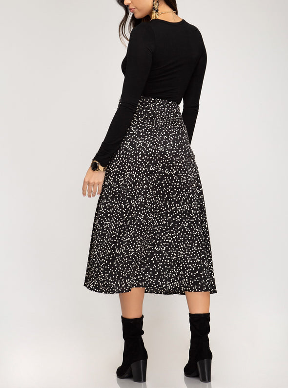 Printed Satin A Line Midi Skirt
