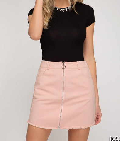 Washed Woven Mini Skirt W/Front Zipper