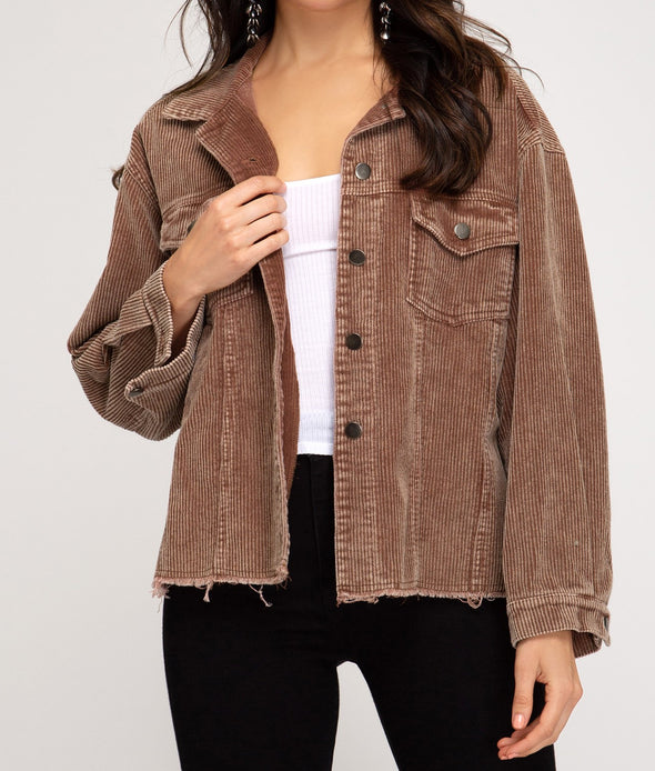 Corduroy Jacket W/Washed Detail