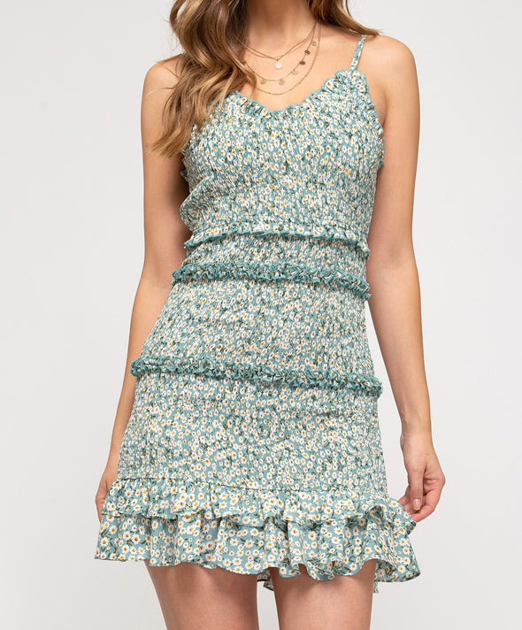 Sleeveless Woven Floral Print Smocked Dress