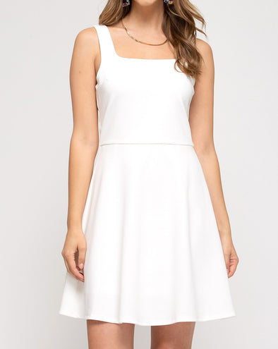 Sleeveless Square Neck Fit & Flare Dress
