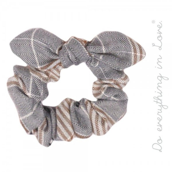 Love Brand Knotted Plaid Print Hair Scrunchie