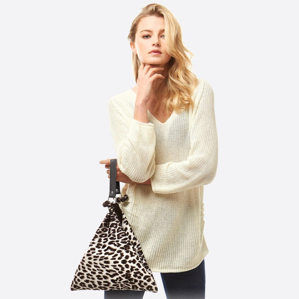 Leopard Print Top Handle Tote Bag