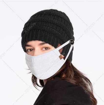 Ribbed Knit Fall/Winter Face Mask with Filter Insert