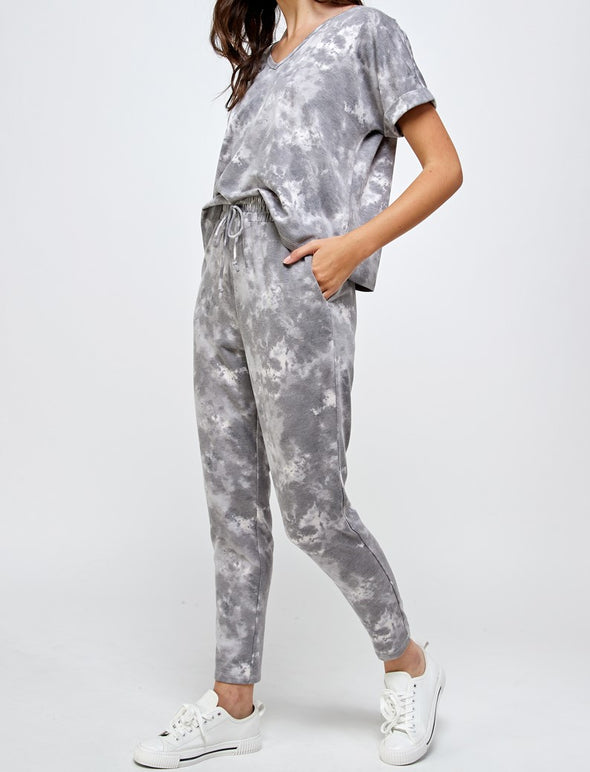 Tie Dye V-Neck Top & Sweatpants Set
