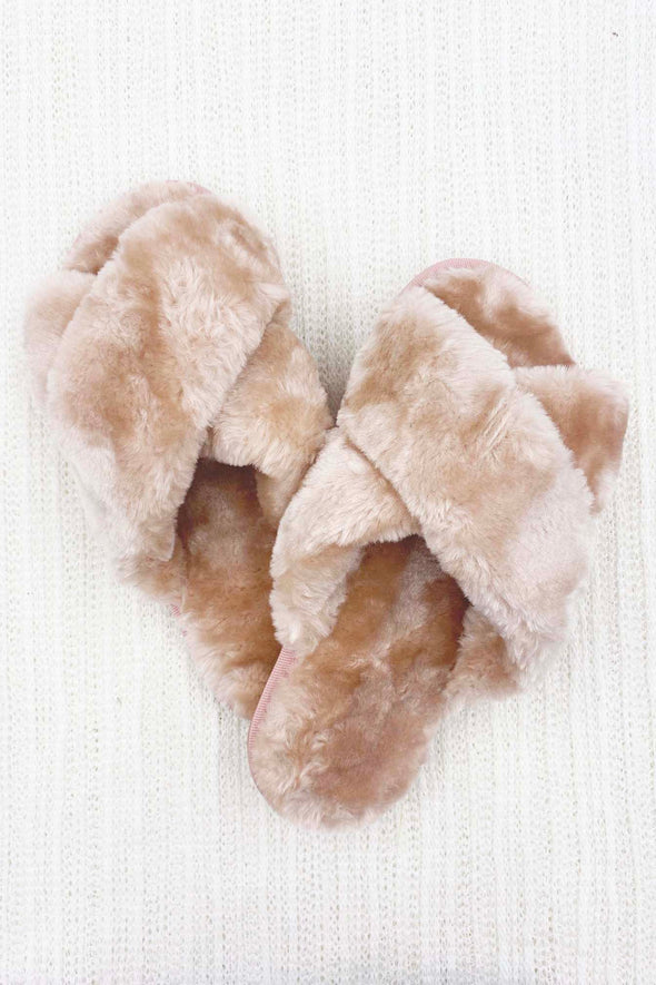Solid Faux Fur Slippers