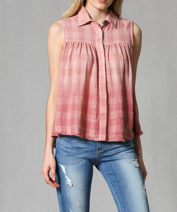 Ombre Plaid Cropped Shirt