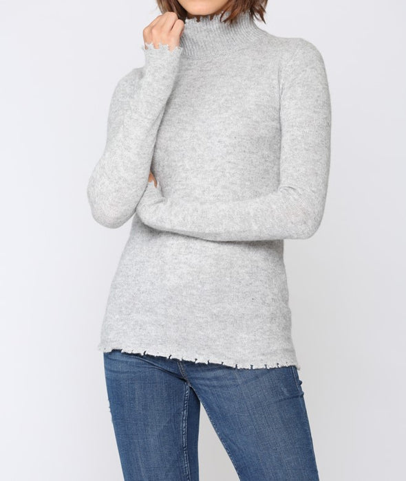 Cashmere Blend Distressed Sweater