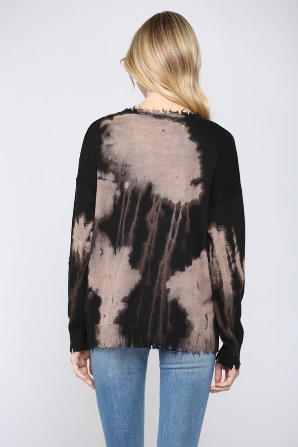 Bleached Distress Pullover Sweater Top