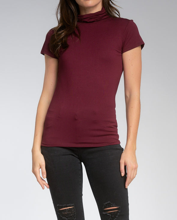 Short Sleeve Turtleneck Top