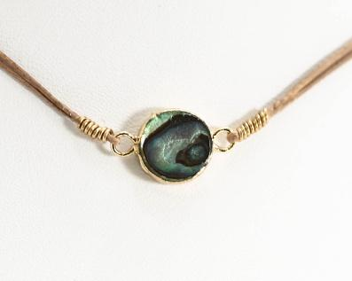 Abalone Leather Necklace